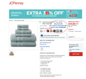 jcpenny towel deal promo code