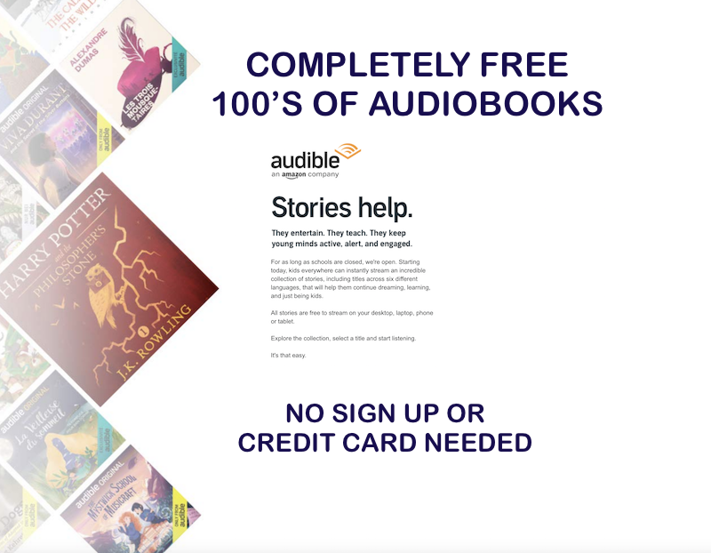 Audiobooks are free Coronavirus 2020 APRIL